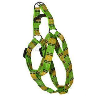 Postroj pre psa - károvaný zelenožltý M 2 x 40-60 cm