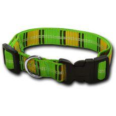 Nylonový obojok pre psa - károvaný zelenožltý 1,6 x 25-39 cm