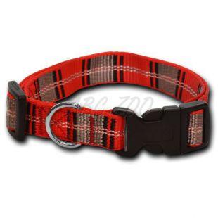 Nylonový obojok pre psa - károvaný červenosivý 1,6 x 25-39 cm
