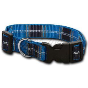 Nylonový obojok pre psa - károvaný modrý 1,6 x 20-32 cm