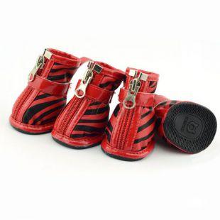 Topánky pre psov - zebrované červené, S