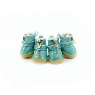 Topánky pre psy - modré so srdiečkami - zips, S