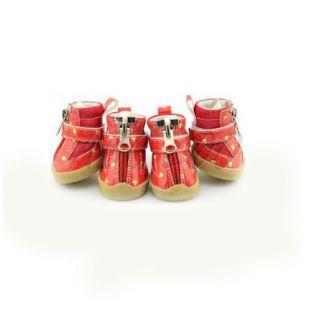 Topánky pre psy - červené so srdiečkami - zips, XS