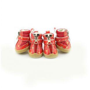 Topánky pre psy - červené so srdiečkami - zips, XL