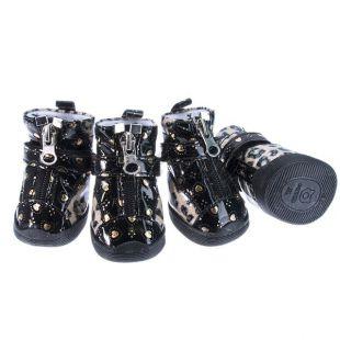Topánky pre psov - leopardie lesklé - béžové, L