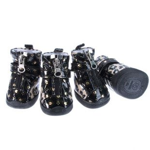 Topánky pre psov - leopardie lesklé - béžové, XL