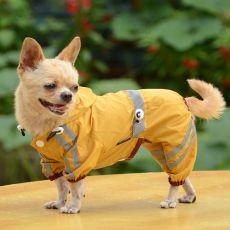 Pršiplášť pre psa reflexný - tmavožltý, XL