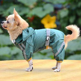 Pršiplášť pre psa reflexný - tmavozelený, XL
