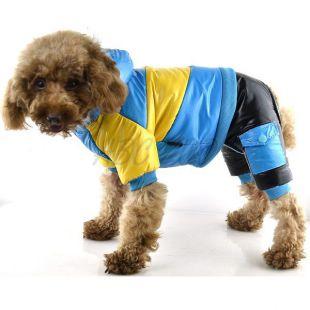 Bunda pre psa - žlto-modrá, XS