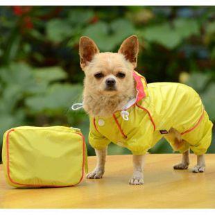 Pršiplášť pre psa v puzdre - žltý, M