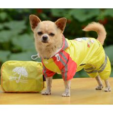 Pršiplášť so vzorom dievčatka pre psa - žltý, S