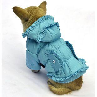 Bunda pre psa - bodkovaná, modrá, XL