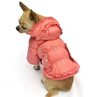 Bunda pre psa - bodkovaná, staroružová, XL