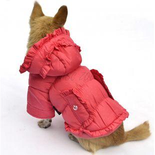 Bunda pre psa - bodkovaná, ružová, XL