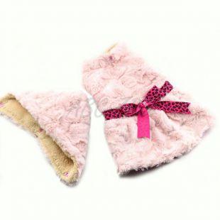 Svetrík pre psov - ružový s kapucňou a mašličkou - S