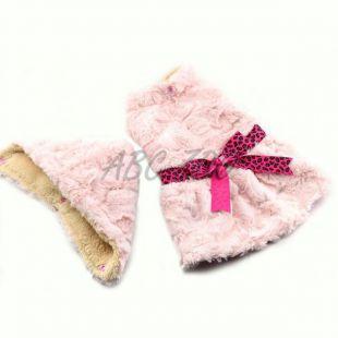 Svetrík pre psov - ružový s kapucňou a mašličkou - L