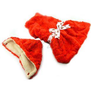 Svetrík pre psov - oranžový s kapucňou a mašličkou - M