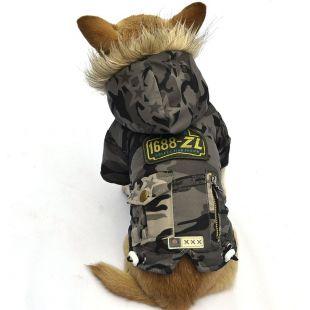Bunda pre psa - vojenská zelená, L