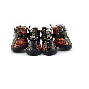 Topánky pre psov - leopardie lesklé - oranžové, XS