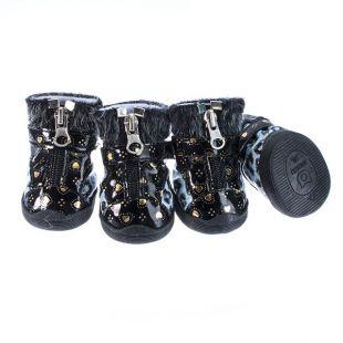 Topánky pre psov - leopardie lesklé - modré, L