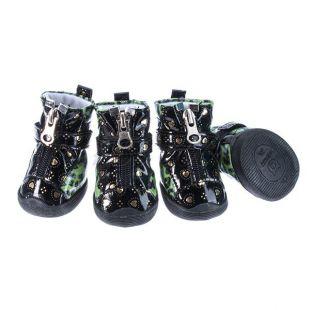 Topánky pre psov - leopardie lesklé - zelené, XS