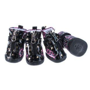 Topánky pre psov - leopardie lesklé - ružové, S