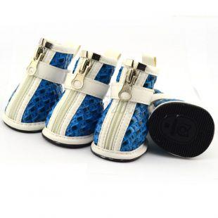 Topánky pre psov - pletený vzor - modré, L