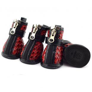Topánky pre psov - pletený vzor - červené, L