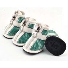 Topánky pre psov – strieborná potlač – zelené, XL