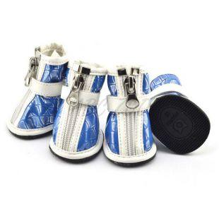 Topánky pre psov – strieborná potlač – modré, XS