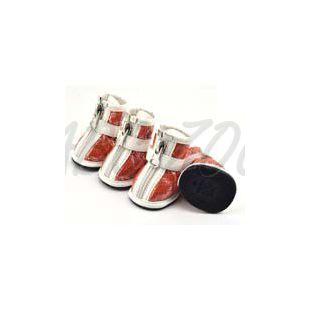 Topánky pre psov – strieborná potlač – oranžové, L