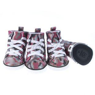 Topánky pre psov - maskáčové červené, S