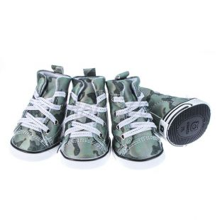 Topánky pre psov - maskáčové zelené, S