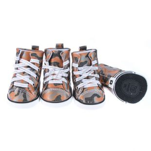 Topánky pre psov - maskáčové oranžové, S