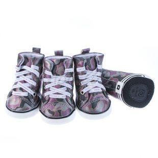Topánky pre psov - maskáčové fialové, XS