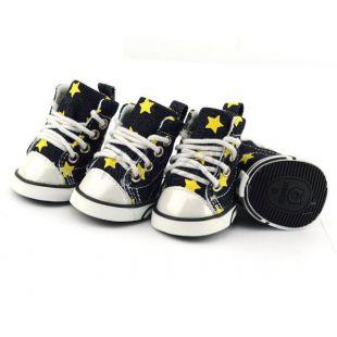 Tenisky pre psov - riflové s žltými hviezdičkami, L