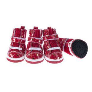 Topánky pre psov - sieťované červené, L
