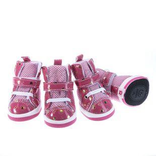 Topánky pre psov - sieťované ružové, L