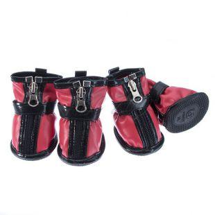 Topánky pre psov - so suchým zipsom - červené, XL