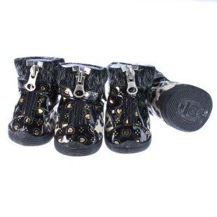 Topánky pre psov - leopardie s kožušinkou - béžové, S