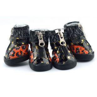 Topánky pre psov - leopardie s kožušinkou - oranžové, S