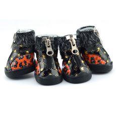 Topánky pre psov - leopardie s kožušinkou - oranžové, XL