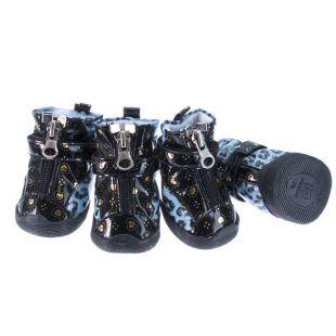 Topánky pre psov - leopardie s kožušinkou - modré, M