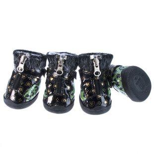 Topánky pre psov - leopardie s kožušinkou - zelené, XL