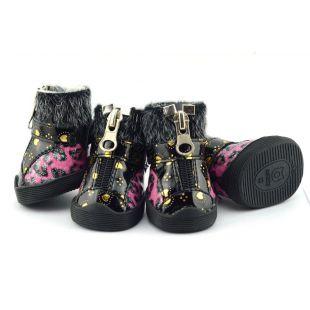 Topánky pre psov - leopardie s kožušinkou - ružové, M