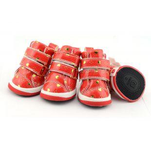 Topánky pre psov - červené so srdiečkami, suchý zips, S