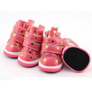 Topánky pre psov - ružové so srdiečkami, suchý zips, XS