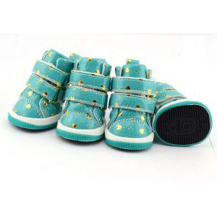 Topánky pre psov - modré so srdiečkami, suchý zips, S