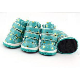 Topánky pre psov - modré so srdiečkami, suchý zips, XL