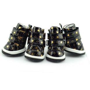 Topánky pre psov - čierne so srdiečkami, suchý zips, S